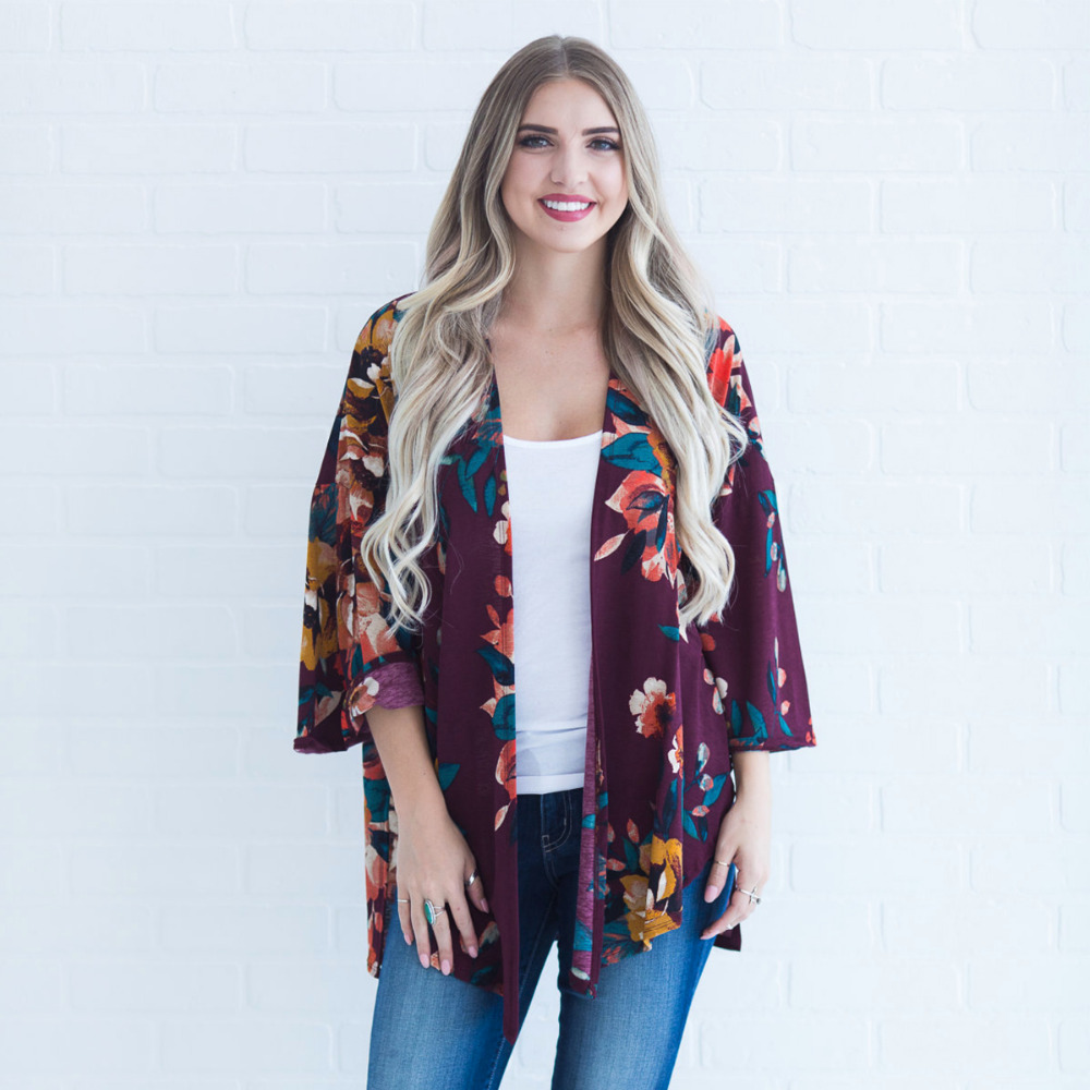 Women Plus Size Kimono Boho Cover Ups Floral Print Loose Shawl Kimono Cardigan Lace Three Quarter Sleeve Summer Tops 3 Color