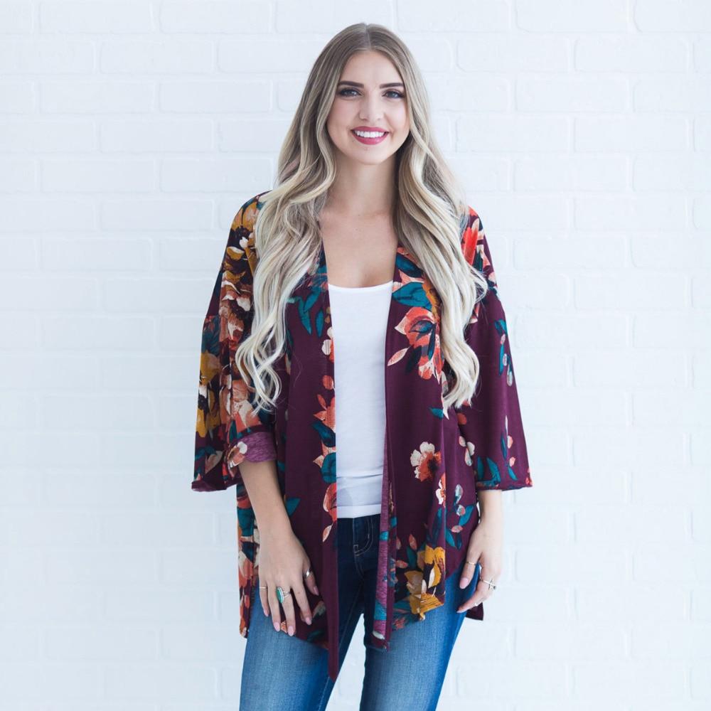 US $10.99 |Women Plus Size Kimono Boho Cover Ups Floral Print Loose Shawl  Kimono Cardigan Lace Three Quarter Sleeve Summer Tops 3 Color-in Blouses &  ...