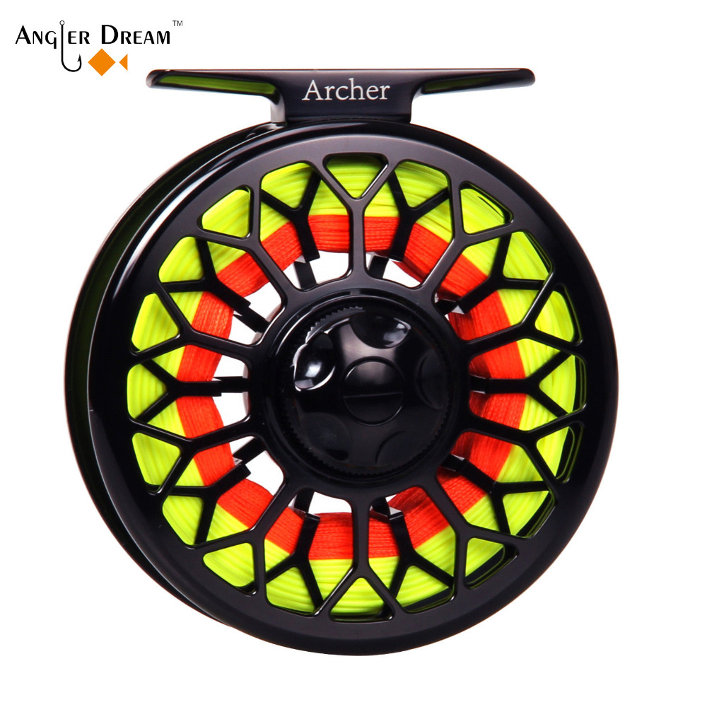 3/4 5/6 7/8 CNC Machined Fly Fishing Reel Aluminum Fly Reel Line Combo Braided Backing Nylon Fly Line Leader Loop