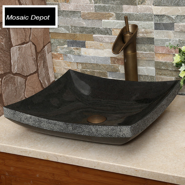 Black Granite Sinks Bathroom Stone Basin Countertop Sinks Home Decor  Natural Stone Vessel Granite Bowl