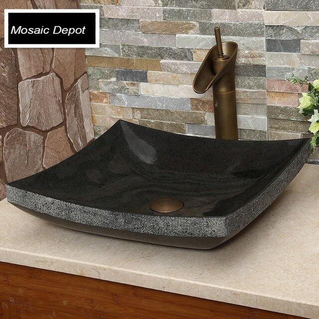 schwarz granit waschbecken bad stein waschbecken arbeitsplatte waschbecken wohnkultur naturstein. Black Bedroom Furniture Sets. Home Design Ideas