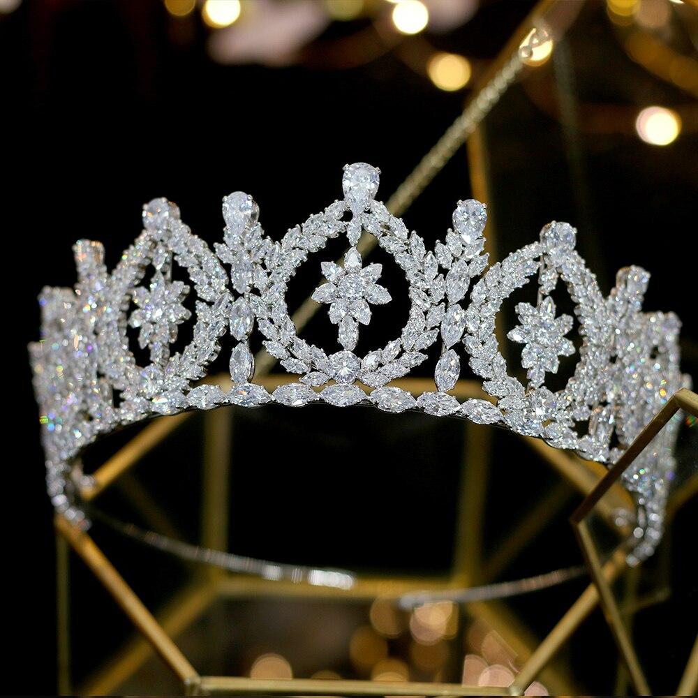 Europa ronda zirconia corona novia boda vestido de novia de accesorios corona banquete accesorios para el cabello-in Joyería para el cabello from Joyería y accesorios    1