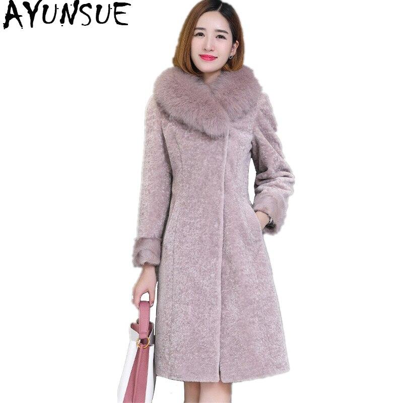 4e294e852e4 AYUNSUE 2018 Sheep Shearling Coats Women Real Fur Coat With Natural Fox Fur  Collar Winter Warm Female Jacket Plus Size WYQ990
