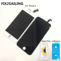 FIX2SAILING 100% Grade AAA LCD Display Touch Screen Digitizer Assembly Replacement For Apple iPhone 6 +Glass Film +Adhesive