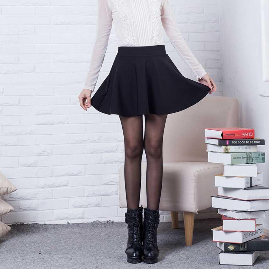 400290e5157 Sexy Skirts Womens 2016 Fashion Fall Winter Mini Skirt Plus Size XL High  Waist Pleated Skirt Black ...