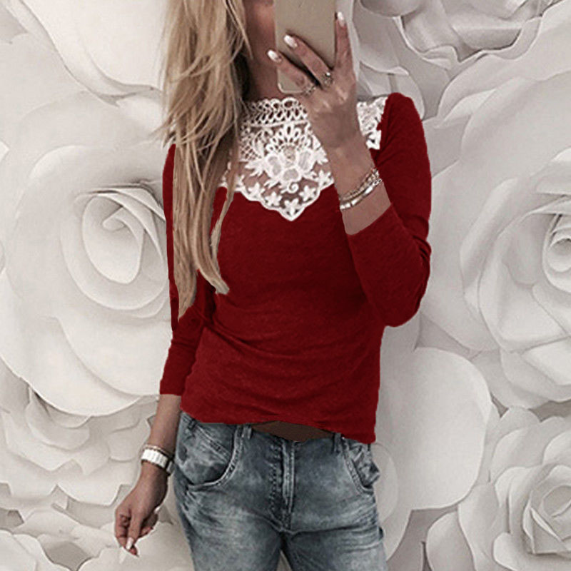 Plus Size 2018 ZANZEA Women Lace Crochet V Neck Shirt Hollow Out Long Sleeve Work Blouse Casual Patchwork Party Basic Top Blusas 3
