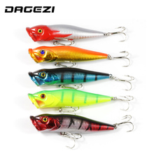 DAGEZI 5pcs Fishing Lure 5 colors Popper Lure 9.5cm/12g hard fishing bait with 8# high carbon steel hook fishing tackle pesca