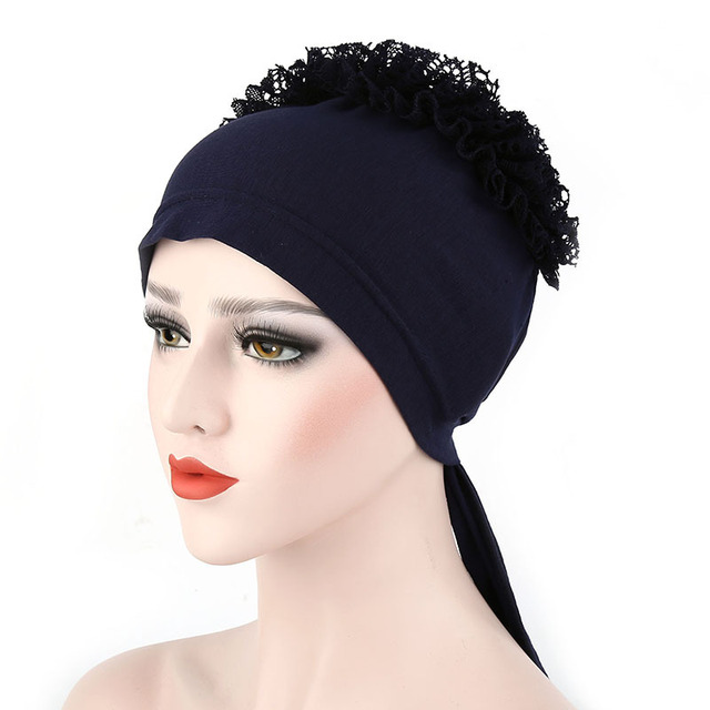 2018 New Style Flower Muslim Islamic Hijab Inner Caps Beanie Cap Sleep  Turban Hat Caps Bonnet bb70cb41e6f