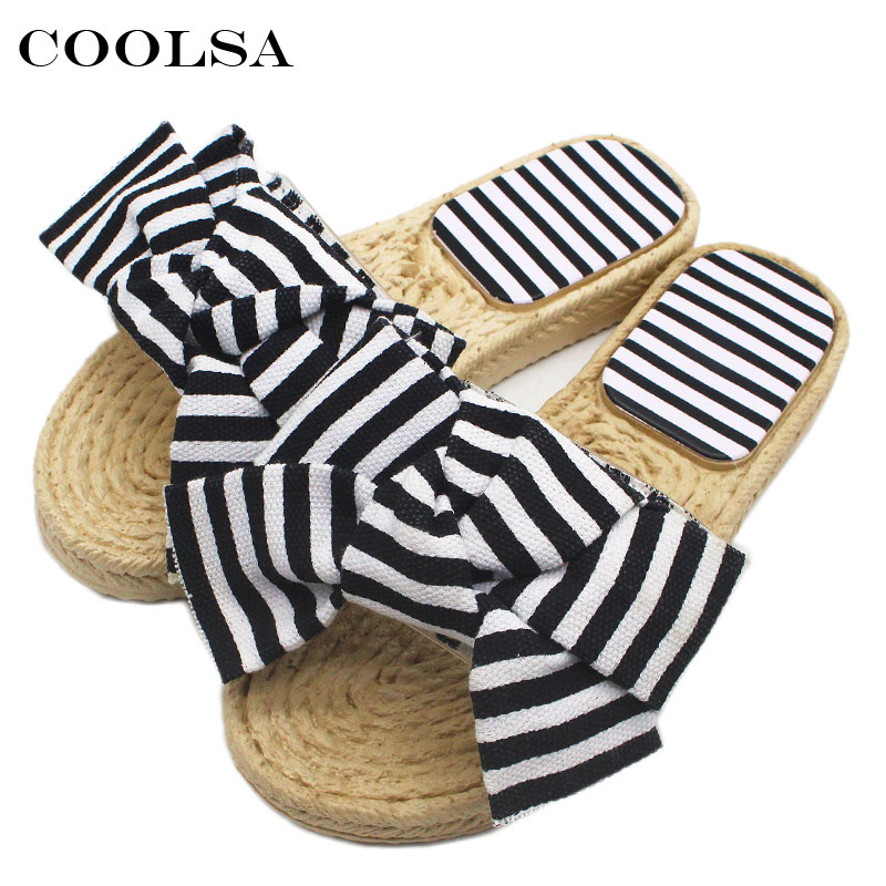 Coolsa New Summer Women Bow Flip Flop Bowknot Stripe Slides Flat Non Slip Bathroom Slides Indoor Slippers Casual Beach Sandals suihyung design new women and men summer flat shoes hit color breathable hollow beach slippers flips non slip unisex sandals