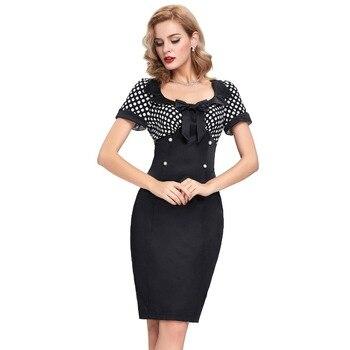 2016 Retro Summer Dresses Women Pencil Bodycon Dress 50s Vintage Dresses Sexy V-neck Short Sleeve Bow Polka Dot Short Lady Dress short dresses office wear