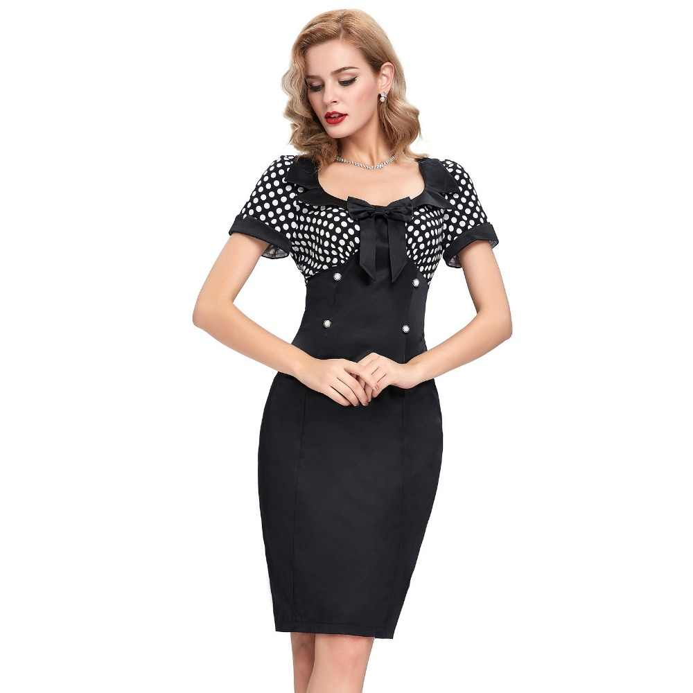 77c17c44 Detail Feedback Questions about 2016 Retro Summer Dresses Women Pencil  Bodycon Dress 50s Vintage Dresses Sexy V neck Short Sleeve Bow Polka Dot  Short Lady ...