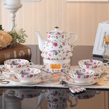 Luxury Bone China Coffee Cups Pot Candle Holder Set Ceramic Tea Cup And Saucer Tray Teapot Top-grade Porcelain Mug For Party