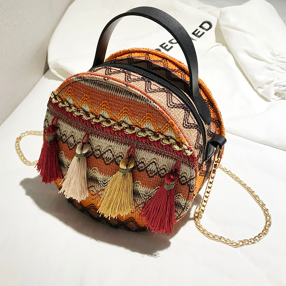 Women Tassel Chain Small Bags national wind round bag packet Lady Fashion Round Shoulder Bag Bolsos Mujer#A02 102