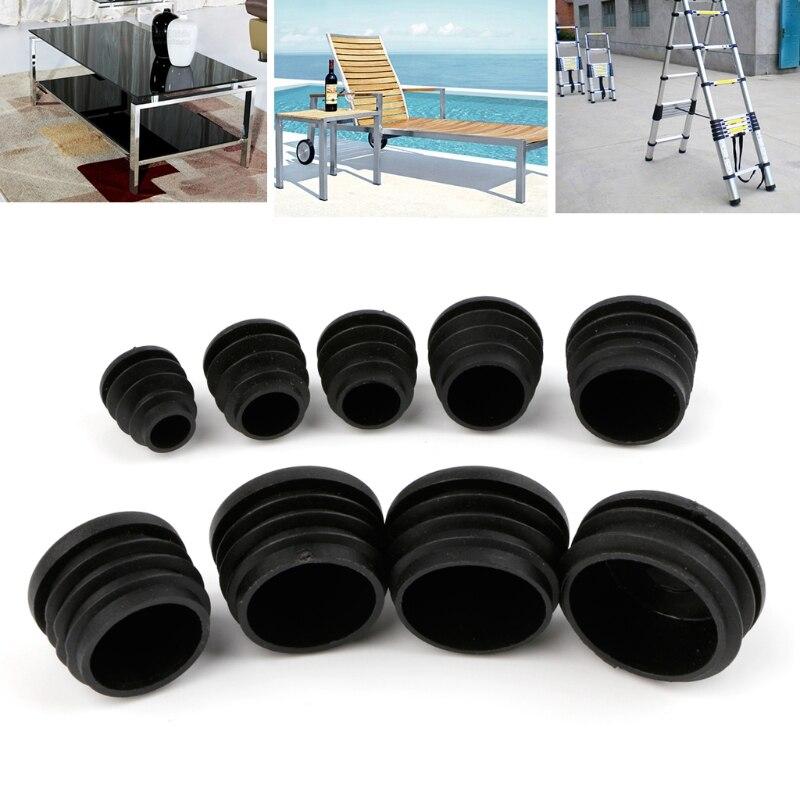 10Pcs Black Plastic Furniture Leg Plug Blanking End Cap Bung For Round Pipe Tube