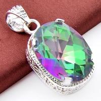 Top Biżuteria Delikatne Klasyczne Kolorowe Mystic Ogień Owalne Kamień Syntetyczny Ślubne Wisiorki Wisiorki USA Rosja Kanada Australia