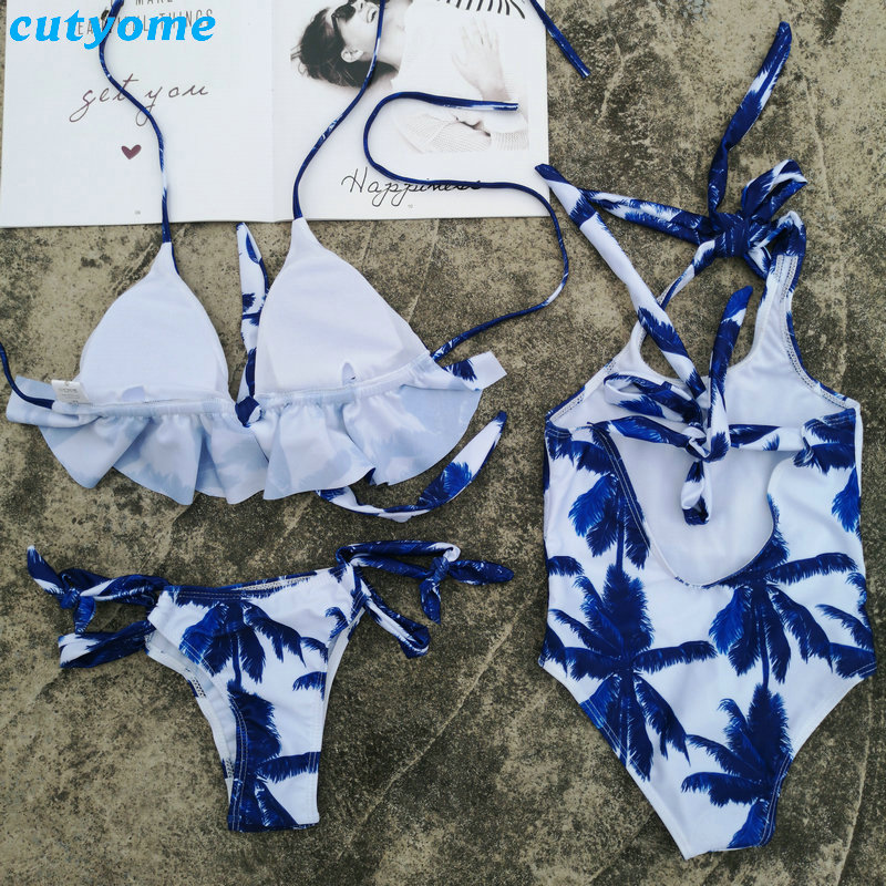 Mother Daughter Father Son Swimsuits Blue Family Look Mom And Daugher Daddy Parent Child Bikini Bathing Swimwear Summer Clothes (37)