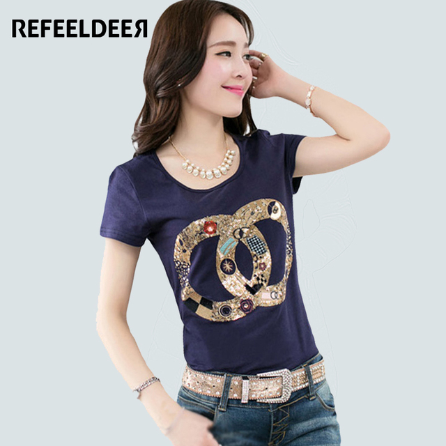 Plus Size 4XL T Shirt Women 2017 Summer Sequin Fashion T-shirt Female Short Sleeve Tshirt Graphic Tops Tee Shirt Femme