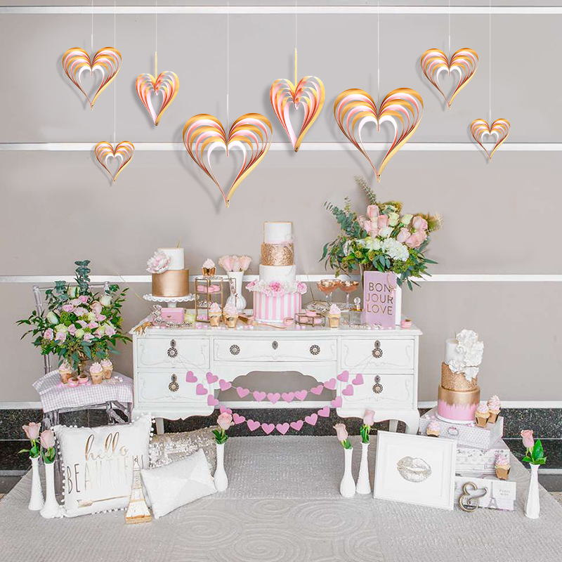 4pcs 3D Glitter Gold Heart Garland Wedding Banner Party DIY Marriage Home  Proposal Prop Valentine s Day a784649dcf33