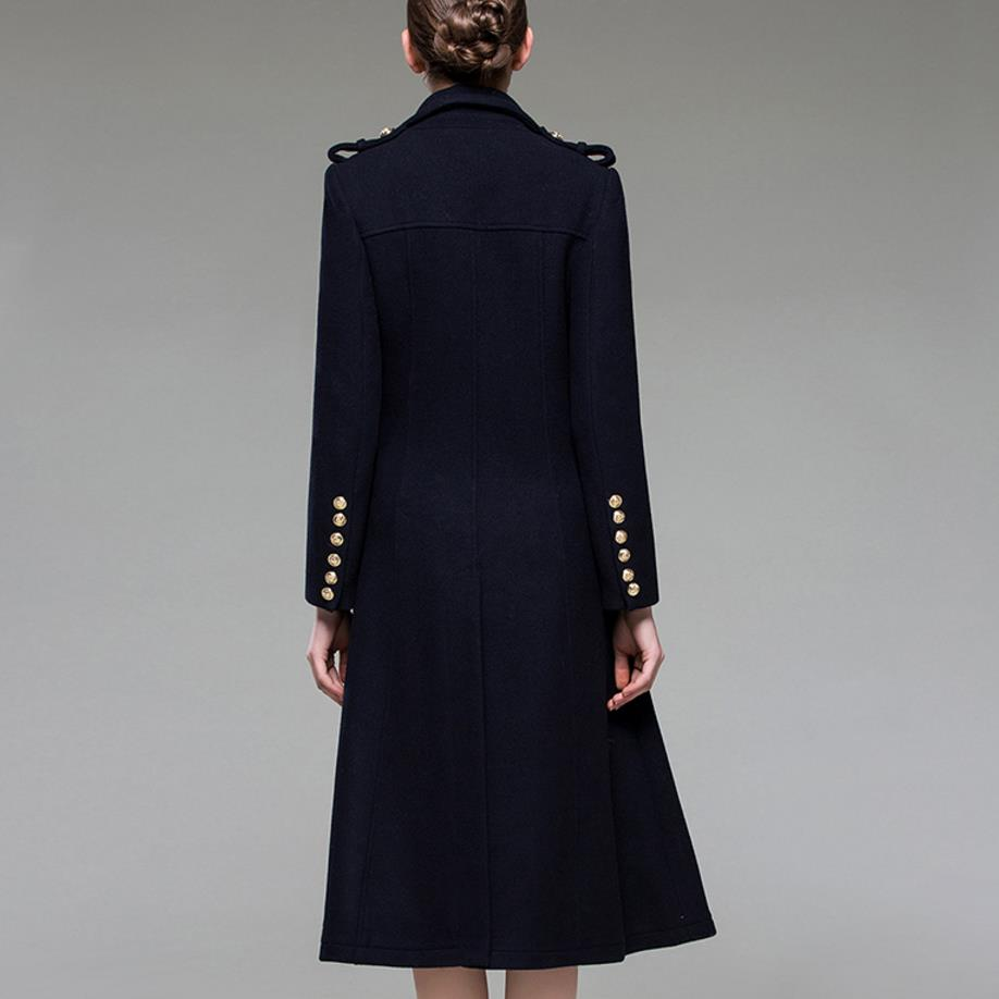 Mince Femmes Tournent Militaire Dark Le De Vers Style Hiver Bas Laine Manteau Automne 2018 Blue Mélange Long Mode Pgdqgw7