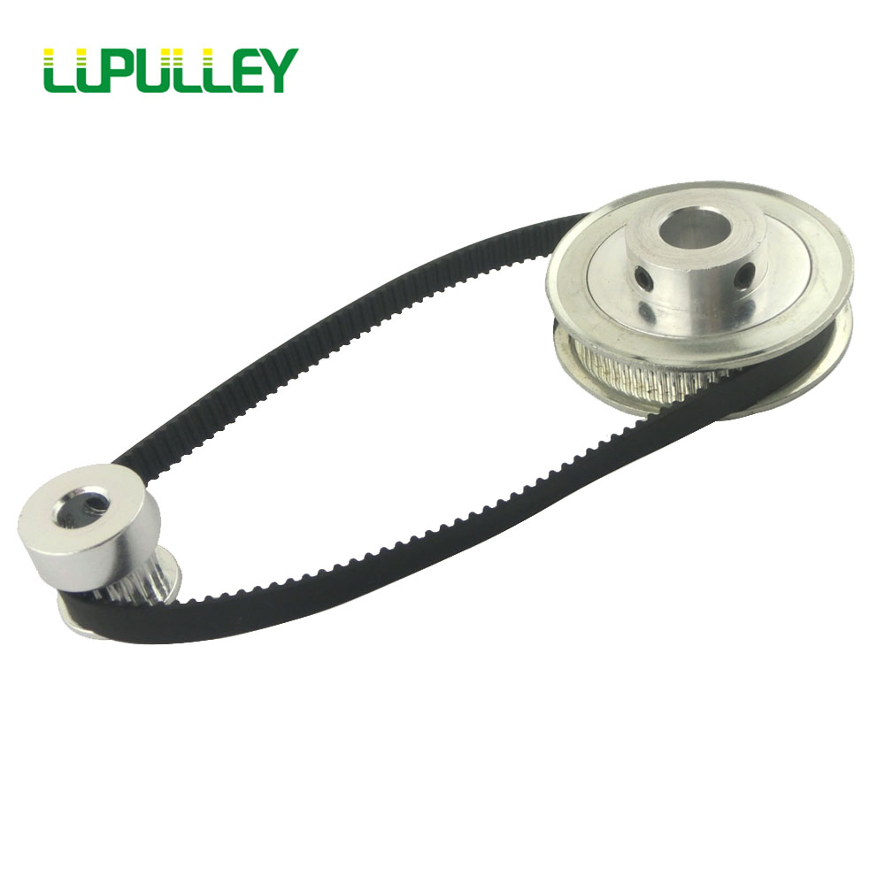 LUPULLEY GT2 Timing Belt Pulley Set 2GT 20T:40T 40T:40T Reduction Synchronous Pulley Belt 280mm for CNC Alloy Black Rubber