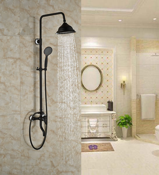 Luxury Bathroom Rainfall Shower Units Single Lever Bath Exposed Shower Oil Rubbed Broze