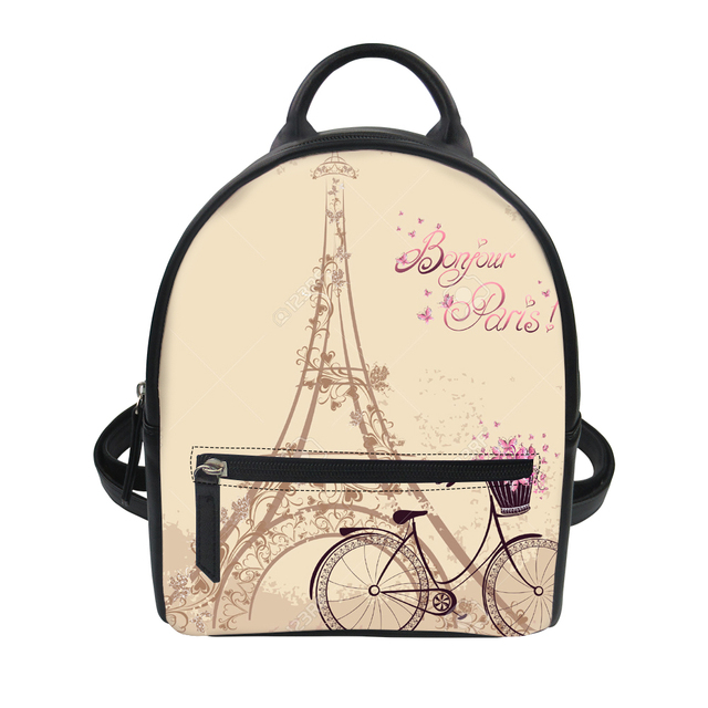 FORUDESIGNS Paris Tower Printing Backpack Small Pink Girly Style Pu Leather  School Bags For Teenagers Women f2140bdcb4f47