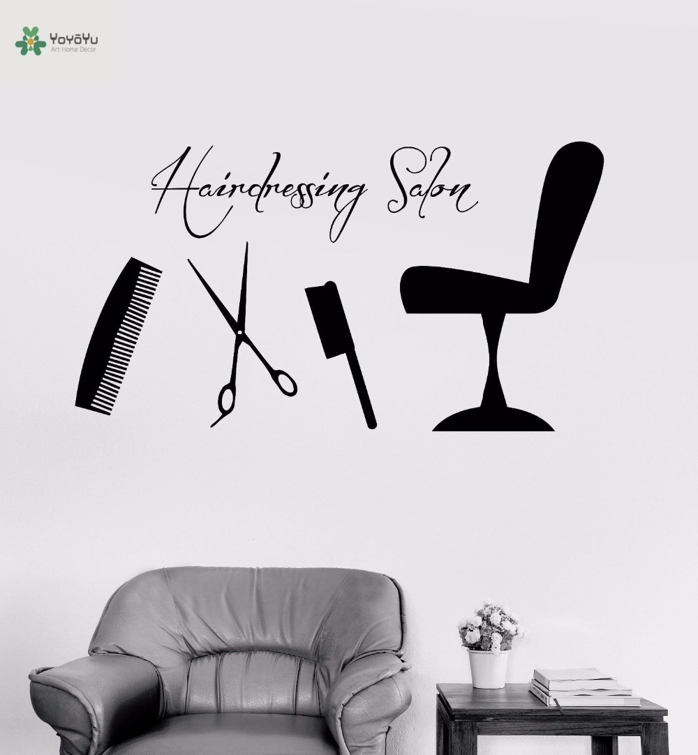 YOYOYU Vinyl Wall Decal Comb Scissors Barber Tools Chair Hairdressing Salon Interior Art Decoration Stickers FD408