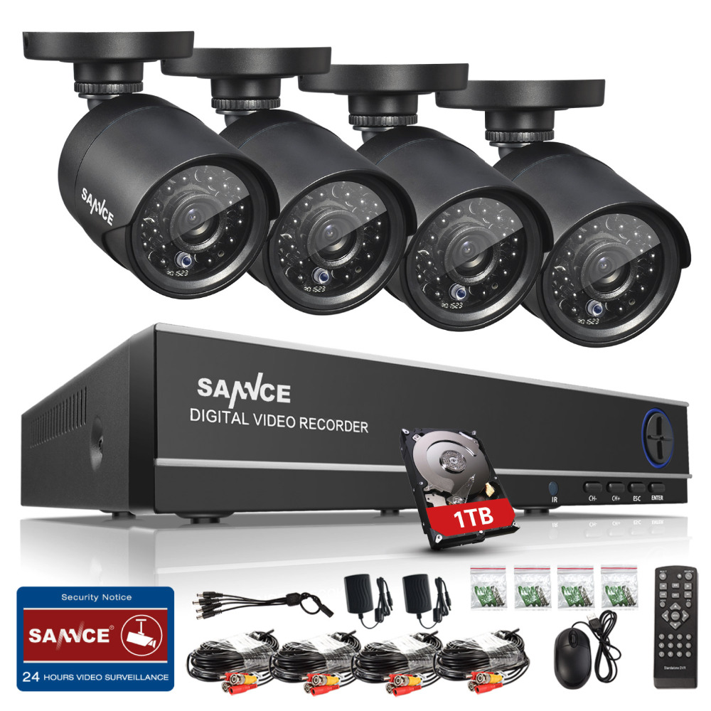 SANNCE HD 4CH CCTV System HDMI AHD DVR Kit 720P Outdoor Security Waterproof Night Vision Surveillance Kits With 4 Cameras 1TB sannce ahd 4ch cctv system 720p hdmi dvr kit 1200tvl outdoor security waterproof night vision 4 cameras surveillance kits