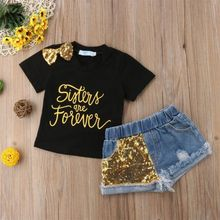 Toddler Kids Baby Girl Sequins Outfits Clothes Bow Letter T-shirt Tops+Denim Shorts 2PCS US