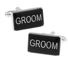 iGame Factory Price Retail Wedding Cufflinks Black Color Brass Material GROOM Design Cuff Links