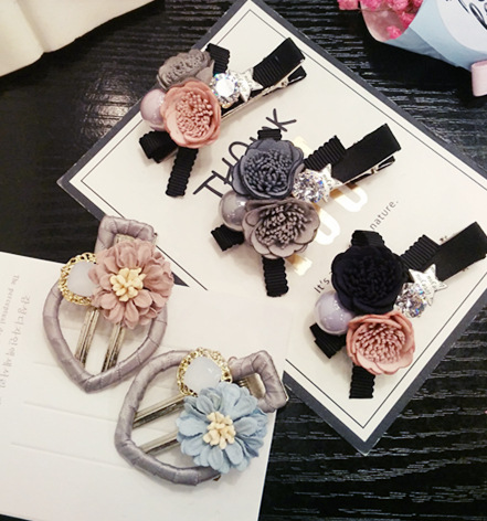 Korea Cloth Flower Diamond Hair Accessories For Girls Weave Hair Bows High Quality Rim Hairpin Hair Clips Hairgrips