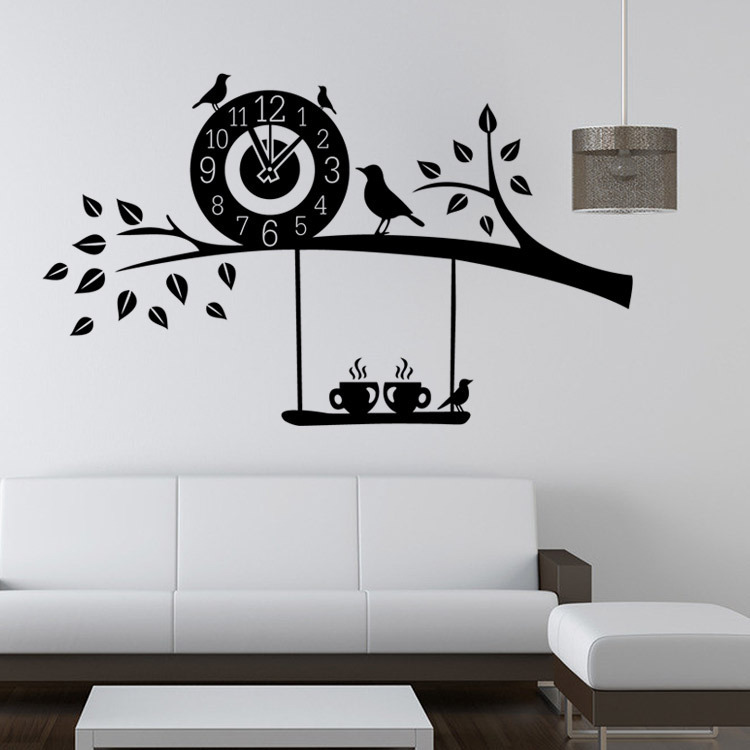 Birds on the tree branch wall stickers fans kids bedroom for Stickers para pared
