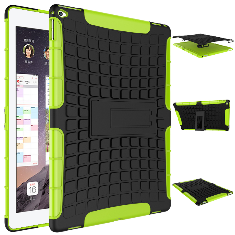 Tire Pattern Robot Silicon Heavy Duty Rugged Armor Hybrid Kick-Stand TPU + PC Shockproof Cover Case For Apple ipad pro 12.9 inch