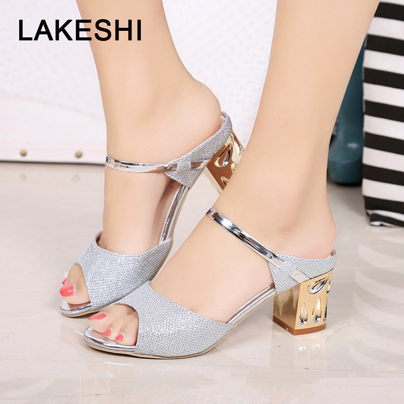 Fashion Sexy Pumps Metal Square Heel Women Shoes Peep Toe Middle Heels Shoes Summer Party Ladies Sandals Gold Sliver Plus 41Fashion Sexy Pumps Metal Square Heel Women Shoes Peep Toe Middle Heels Shoes Summer Party Ladies Sandals Gold Sliver Plus 41