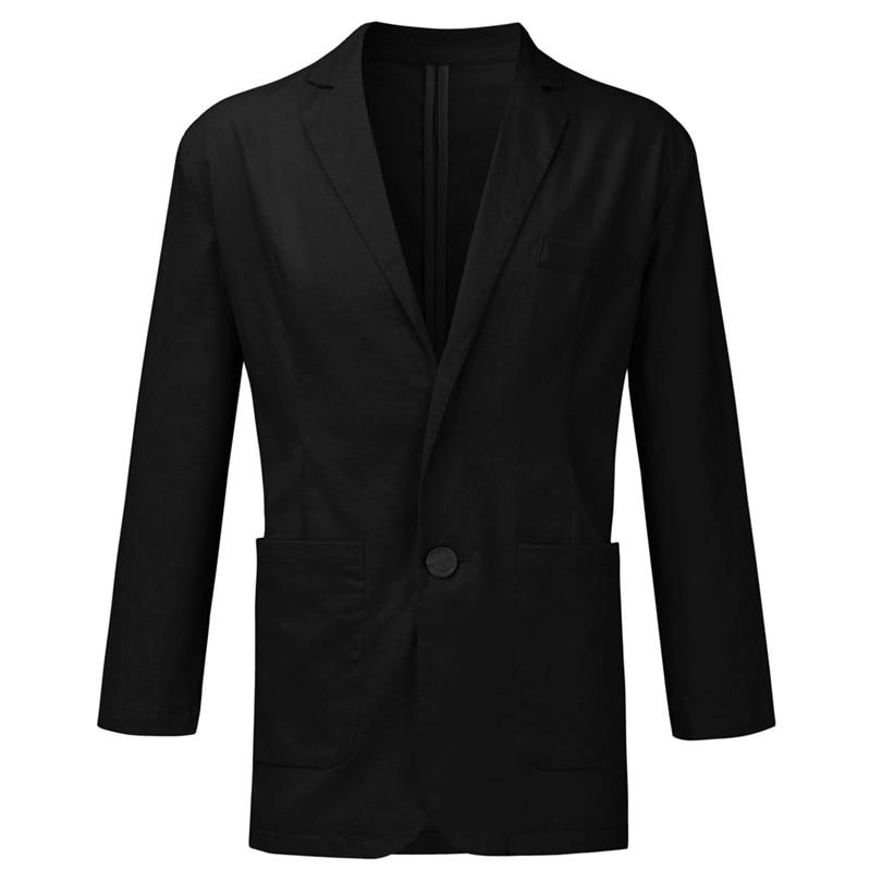 New 2019 Summer Men Slim Fit Linen Blend Casual Blazer Pocket Solid Long Sleeve Suits Blazer Jacket Outwear #E09 (7)