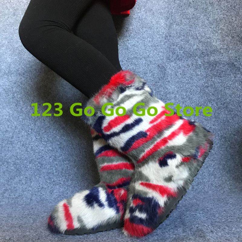 New Hot Short Booties Super Star Runway Shoe Round Toe Rainbow Color Fur Women Snow Boots Warm Winter Shoes Bottes Femme Flats miquinha round toe women boots mixed color short booties luxury brand women cool runway fashion star high heel boots buckle shoe