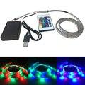 1 M 60 leds RGB tira do diodo emissor de luz alimentado por bateria RGB + Controle Remoto + cabo USB + Caixa de bateria SMD 3528 IP65 À Prova D' Água
