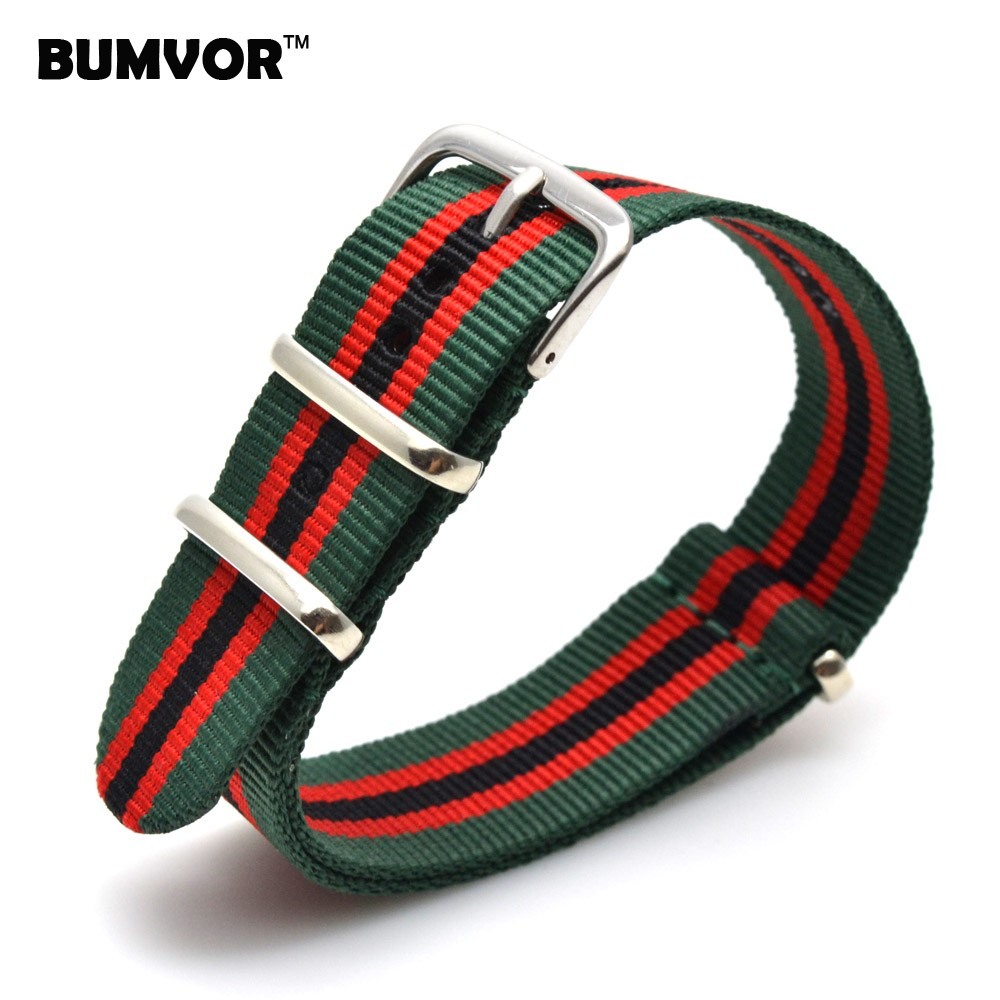 Stripe Wholesale 16 mm Army Green Red Military Sports nato fabric Nylon Watch Band Watch Strap accessories Band Buckle belt 16mm 2018 new style nato strap 16mm watchband silver buckle army military nylon watch band bracelet for watch bracelet 16 mm