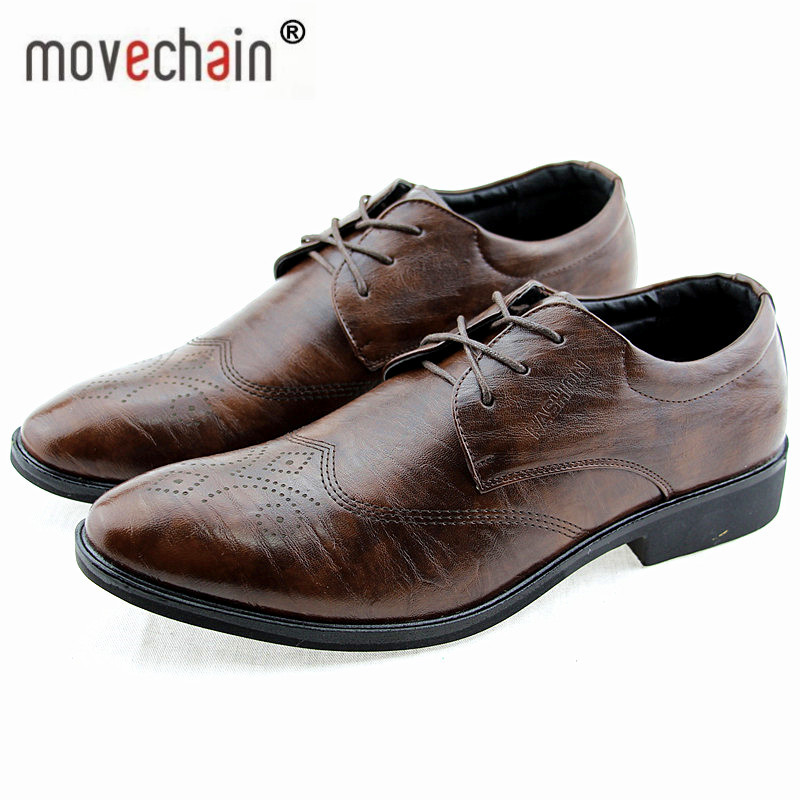 f9405d3908c Detail Feedback Questions about Movechain New Classical Men s Fashion Dress  Wedding Flats Shoes Luxury Man Business Office Oxfords Casual Leather Derby  ...