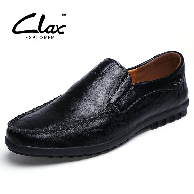 Clax Men's Leather Dress Shoes Slip On 2018 Spring Summer Male Black Formal Shoe Flats Loafers Vintage Moccasin Soft clax men leather loafers designer 2018 men s moccasin genuine leather black male dress shoe slipony classic luxury brand