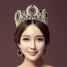 Nouvelle Arrivée Magnifique Strass Reine Princesse Grande Couronne Diadèmes Vert À La Mode Diadème pour les Femmes robe De Mariage Cheveux accessoires