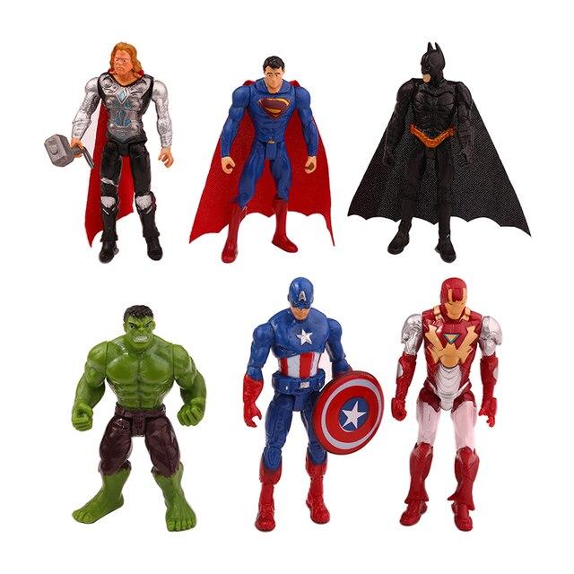 6 pçs/set Infinito Guerra Marvel Avengers Spiderman Herói Homem de Ferro Capitão América Thor Action Figure Toy Boy Kid Coleção