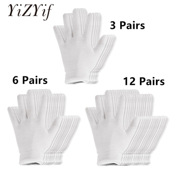 Reusable White Cotton Gloves Thin Elastic Soft for Dry Hand Moisturizing Cosmetic Eczema Spa Coin Jewelry Inspection - discount item  22% OFF Gloves & Mittens