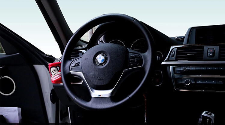 Auto steering wheel cover,steer wheel decoration trim for BMW 116/118/320LI/316/328, ABS chrome,auto accessories,2pcs/set. runba ice silk steering wheel cover sets with red thread