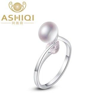 f55e8884d6a3 ASHIQI anillo de Plata de Ley 925 perla de agua dulce Natural deslumbrante  corazón circón abierto dedo para mujer joyería de compromiso de boda