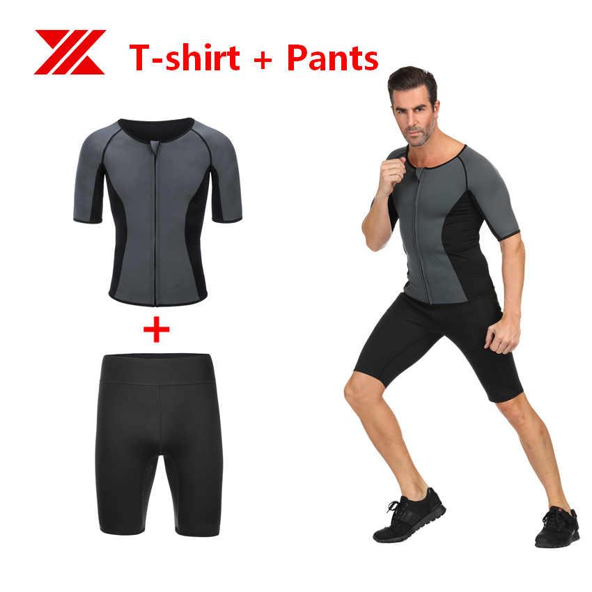 HEXIN Mannen T-shirt Broek Neopreen Body Shaper Vetverbranding Tops Taille Trainer Sauna Zweet Tummy Controle Shaperwear voor Gewichtsverlies
