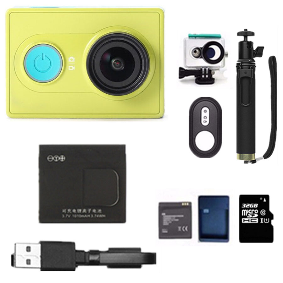 Prix pour D'origine xiaomi yi Action Sport voyage Caméra 1080 P 60fps 16MP wifi Bluetooth 4.0 Smart Étanche Caméra accessoire en option