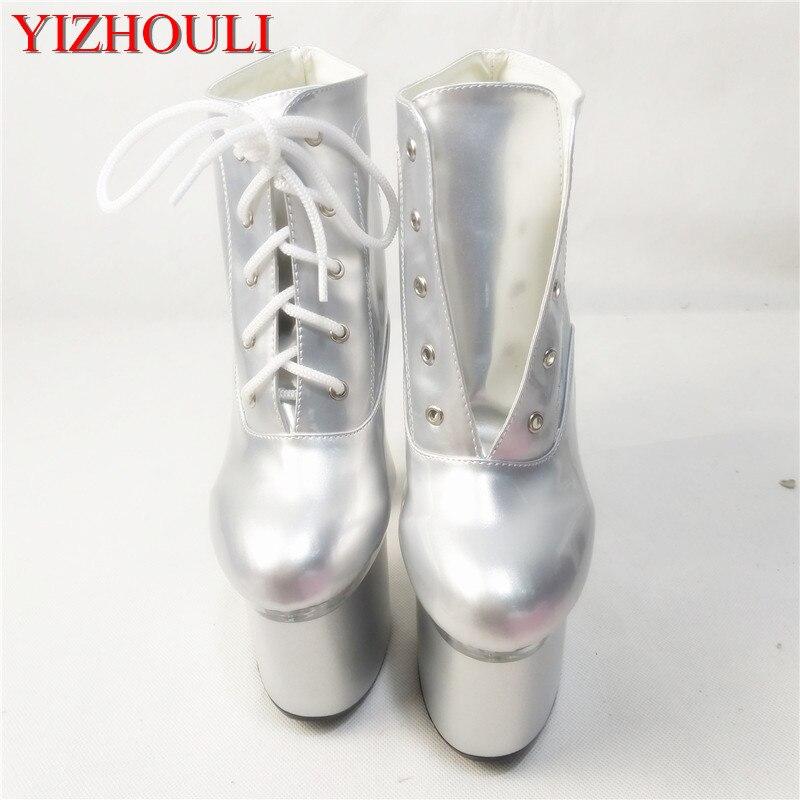 Bombas Cm Ultra Las 18 Toe Gruesos Botines Botas Atractivo Pu Mujeres Altos Moda Zapatos Fresco Plata Más De Peep Cuero Tacones Nuevo cZqWIaA