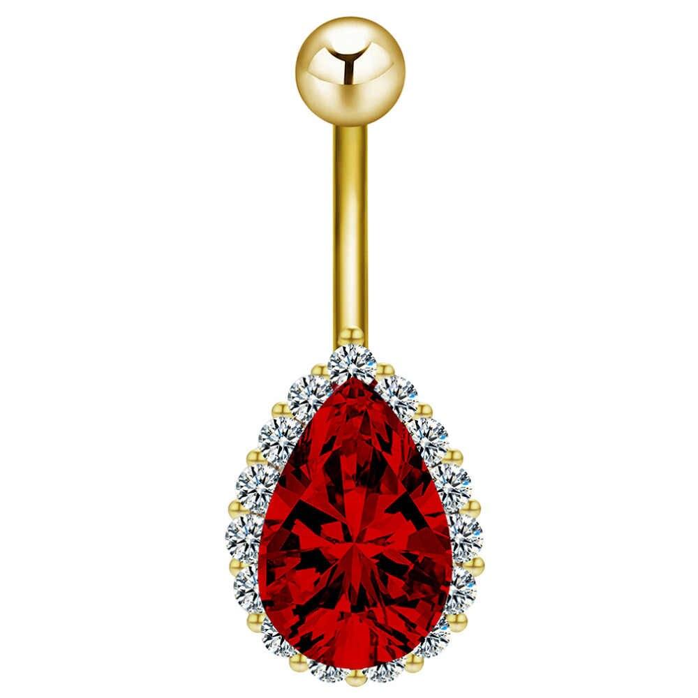Женские Висячие кольца с кристаллами, в форме капли воды, с цирконием, на пупок живота, Пляжное украшение для тела, летний подарок
