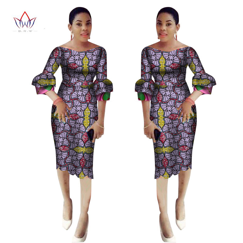 2017 Autumn African Dresses For Women Ankara Party Sheath Dress African Sexy Slash Neck Maxi